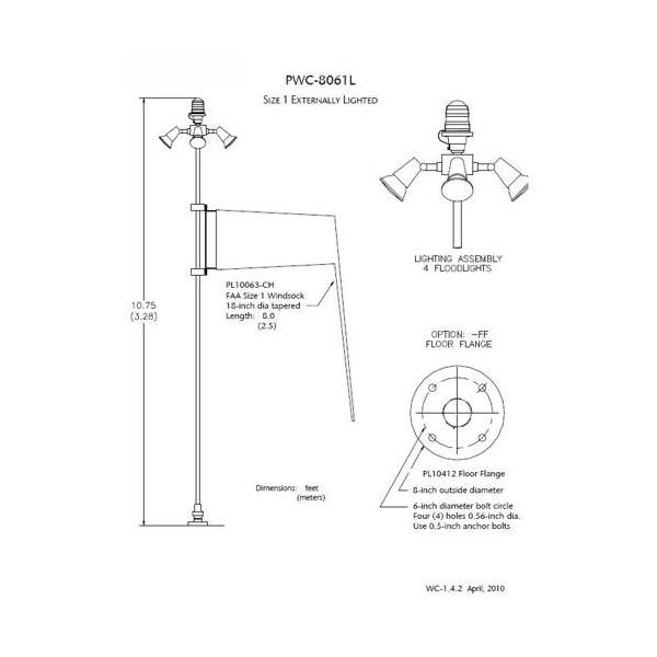 PWC8061L2ONFFDGLSMT Point Lighting Corporation PWC8061L2ONFFDGLSMT PWC-8061L-2-ON-FF-D-G-L-SM-T Lighted Wind Cone, 2,5m Sock, 3,3m Pole