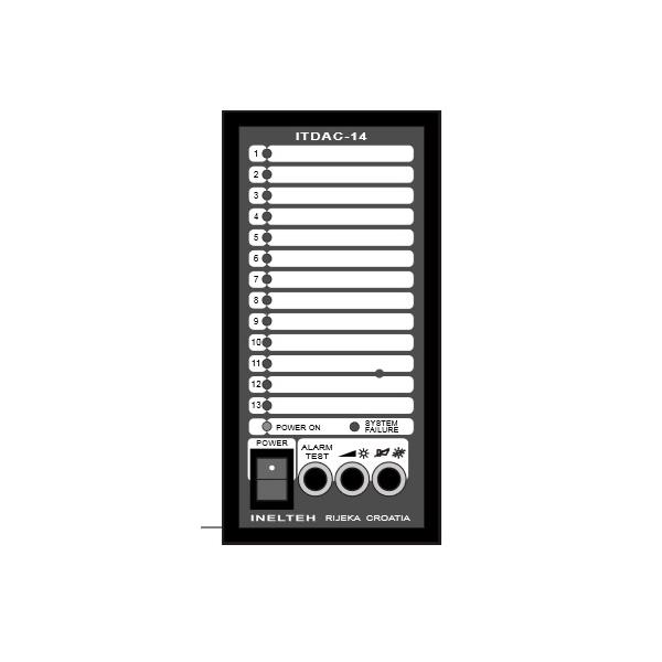 ITDAC-14-2.q21088 Inelth ITDAC-14-2 Alarm unit ITDAC-14-2, 24vDC 13 binary inputs, flush mounting